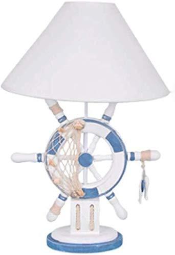 DJSMtd Steering Wheel Mediterráneo de mesa lámpara de madera maciza de cama lámpara de mesilla europea doble tela de la pantalla de lámpara de lectura