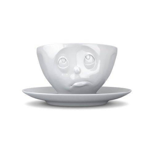 TV Tasse Kaffeetasse mit Untertasse Och Bitte Porzellan weiß