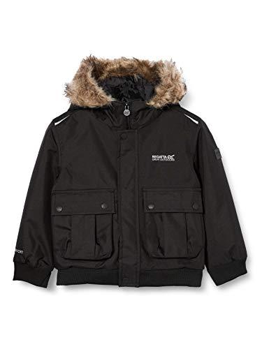 Regatta Unisex dzieci balzo wodoodporne klejone szwy izolowana kurtka z kapturem z podszewką z odblaskową kurtką wykończeniową Czarny 13 yr
