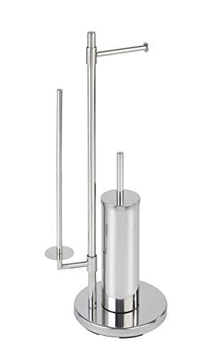 WENKO Stand WC-Garnitur Universalo Neo, mit integriertem Toilettenpapierhalter und WC-Bürstenhalter, aus rostfreiem Edelstahl, 30 x 73 x 20 cm, Silber glänzend