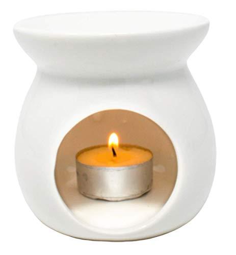 EVERBUY Duftlampe für ätherische Öle, Keramik, Teelichthalter, Diffusor, Wachsbrenner, cremefarben