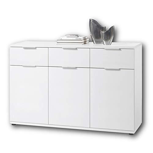Stella Trading Universal Kommode in weiß - Schlichtes Sideboard mit viel Stauraum für Ihren Wohnbereich - 135 x 90 x 40 cm (B/H/T)