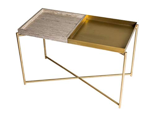 Rectangular Tray Top Side Table - Weathered Oak & Brass Trays, Brass Frame