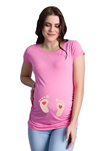 Fußabdrücke Baby mit Herz - Lustige witzige süße Umstandsmode Umstandsshirt mit Motiv Schwangerschaft T-Shirt Schwangerschaftsshirt, Kurzarm (Rosa, X-Large)