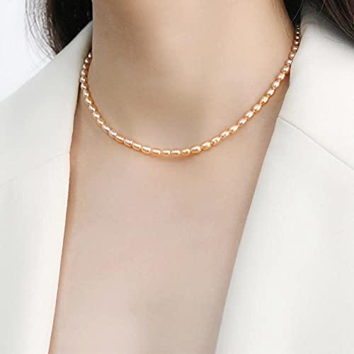 WQZYY&ASDCD Collar De Mujer Mini Collar De Perlas Naturales De Agua Dulce para Joyería De Boda De Mujer-Rosa_45Cm