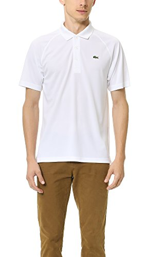 Lacoste Men's Sport Short Ultra Dry Raglan Sleeve Polo, White, XX-Large