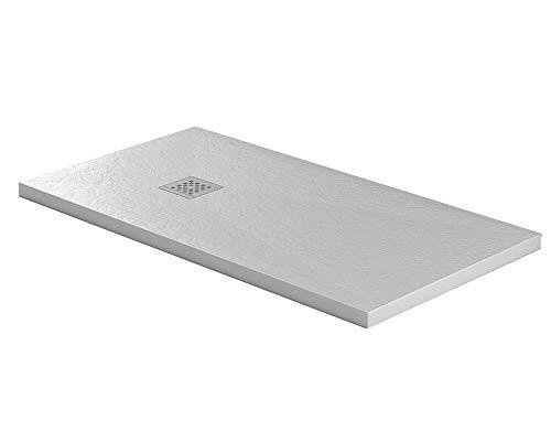 Essence ArredoBagno Plato de ducha de 80 x 170 cm, piedra Mineralmármol resina – Jade – Efecto roca – Grosor 3 cm – Rejilla cromada de acero inoxidable – Color blanco
