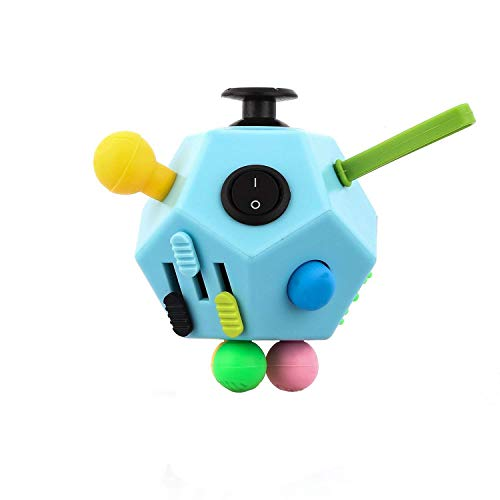 UOOEFUN 12 Side Fidget Cube,Best Fidget Toy Cube Relief Stress and Anxiety Depression Anti for Kids and Adults with ADD, ADHD, OCD, Autism(Blue & Mix Colors B3)