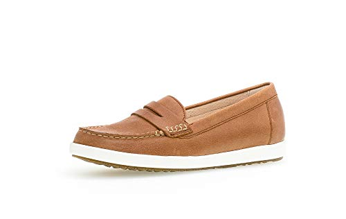 Gabor Damen SlipperMokassins, Frauen Slipper,Comfort-Mehrweite, College Loafer businessschuh Damen Frauen weibliche,Camel(Weiss/Ambra),39 EU / 6 UK