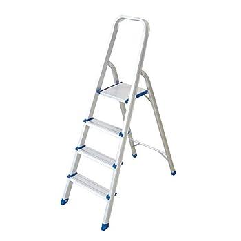 LUCKYERMORE Lightweight 4 Step Ladder Folding Aluminum Step Stool for Home Kitchen
