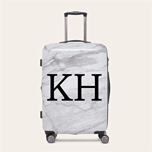 Personalised Initial Name Suitcase Luggage Sticker 20 Colours to Choose from (Small 25cm Width, Black)