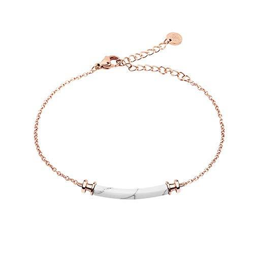 PAUL HEWITT Womens Rose Rose Gold Bracelet Starboard – Rose Rose Gold-Plated Stainless Steel Womens Bracelet with Maritime Pendant (White Marble) - Stunning Stainless Steel Bracelet for Women