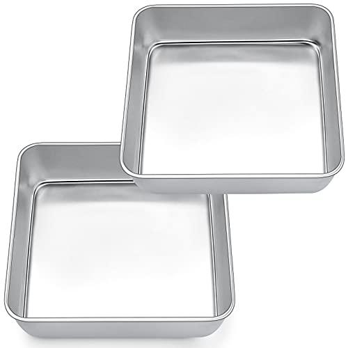 Quadratische Kuchenform, Joyfair Edelstahl Brownie Eckige Backform Auflaufform 2er-Set, 20 x 20 x 5 cm, ideal für Kuchen / Brownie / Lasagne, Gesund & Ungiftig, Spülmaschinenfest