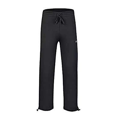 EZRUN Boy's Athletic Pants Fleece Lined Jogger Sweatpants with Zip Pockets(Black S)