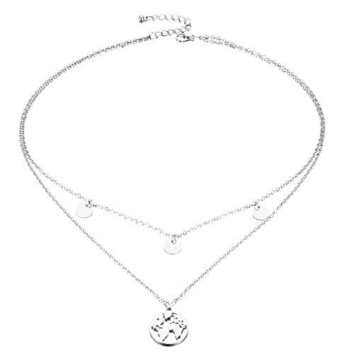 Ketting voor vrouwen - vrouw - kaart - wereldkaart - multiwire - vrouwelijk - meisje - wereld - multistart - kerstmis - origineel cadeau-idee - sierraden - verjaardag - zilver - sieraden