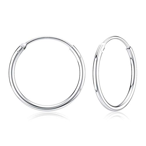 AQUALITYS 925 Sterling Silver 14-35mm Circle Hoop Earrings For Women Birthday Party Simple Noble Silver Fine Jewelry Gift-12mm