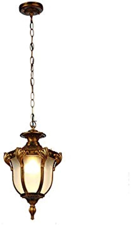 BMY IP44 Outdoor Pendelleuchten Bronze Schwarz lackierte Pendelleuchte Wohnhotel Hotel Parlo Vintage Glas Kronleuchter Wasserdichtes Aluminium Droplight (Farbe  Bronze-S)