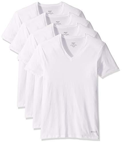 DKNY Men's Cotton V-Neck T-Shirt-Multipack, White, Large