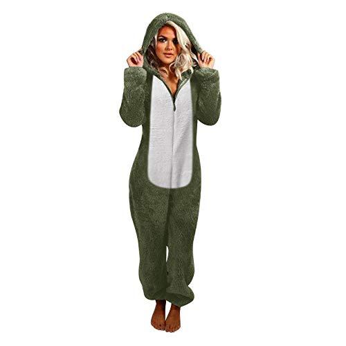 KEERADS Jumpsuit Onesie Overall Einteiler Schlafanzug Colorblock mit Katzenohren...