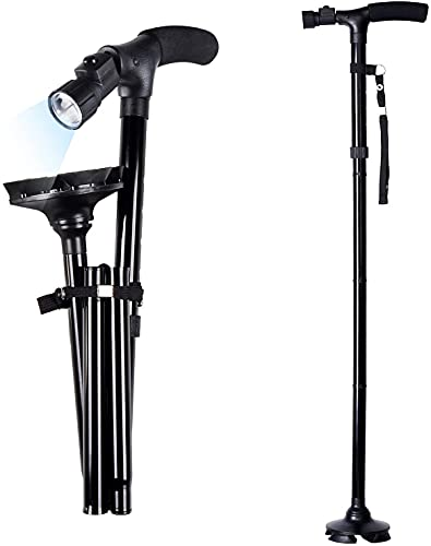 UCRAVO Walking Cane with Led Light - Adjustable Folding Canes and Walking Sticks, Collapsible with Rubber Feet for Men and Women
