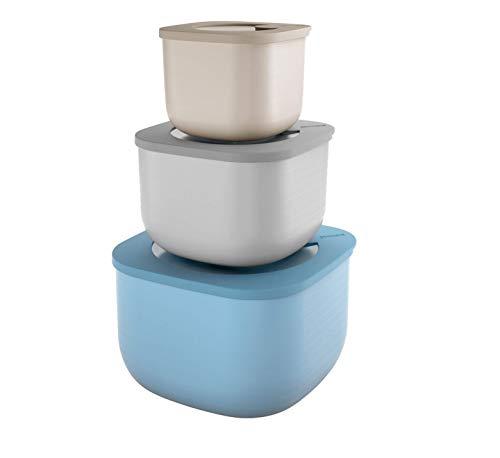 Guzzini Store&More Kitchen Active Design Set 3 Contenitori Alti Ermetici per Frigo/Freezer/Forno A Microonde, 19.5 x 19.5 x 12.3 cm, Multicolore