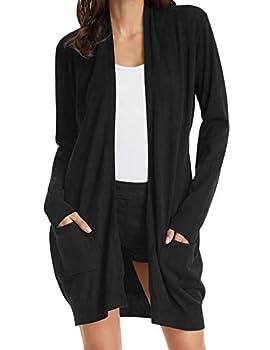 Women s Oversized Open Front Draped Pockets Knit Cardigan Pullover Black L
