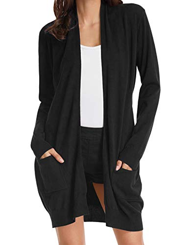 Women's Long Sleeve Open Front Jacket Sweater Cardigan with Pockets Black S