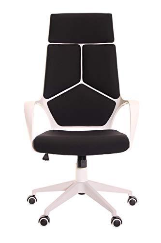 TimeOffice Ergonomic Office Chair with Armrest and Matt White Color Frame – Black
