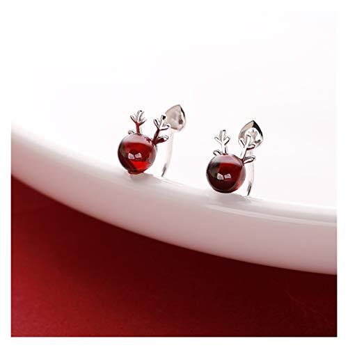 SSN Sterling Silver Garnet Asta De Oreja Clip Femenino Femenino Pendientes Sin Perforaciones Año Nuevo Ear Clip De Hueso Adecuado para Pendientes De Nicho para Año Nuevo Chino (Color : B)
