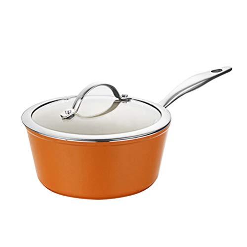 the teapot company Ceramic Coating Cacerola Antiadherente Leche Pan con Cubierta de Cristal Visible, Multifuncional Pot, Compuesto Pot Bottom (Color : Naranja)