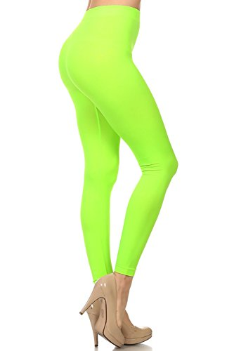 Colored Seamless Leggings Athletic Pants Costume, Neon Green, Size One Size