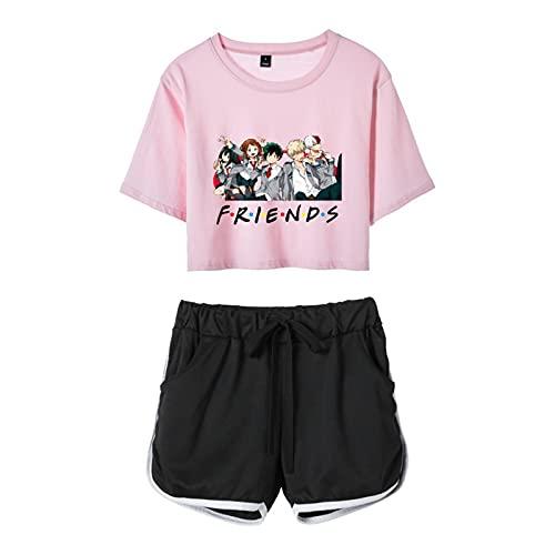 My Hero Academia Friends Chándal Anime Midoriya Izuku Deku Todoroki Shoto Camiseta de Manga Corta y Pantalones Cortos Ropa Deportiva Conjunto de 2 Piezas para Mujer
