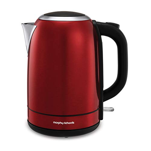 Morphy Richards 102782 Edelstahlkrug Kessel Schnellkochen, 3000 W, 1,7 Liter, Rot