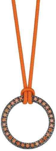 ESPRIT Damen Halskette 925 Sterling Silber rhodiniert Kunststoff Zirkonia Brilliance orange 42 cm orange ESNL92477C420