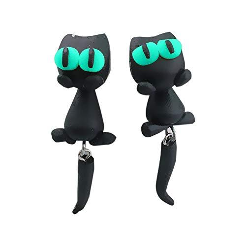 GSZPXF Cat Pendientes Hechos a Mano la Arcilla del polímero 3D Linda de la joyería del Pendiente del Perno Prisionero de Dibujos Animados for Las Mujeres (Color : Green)