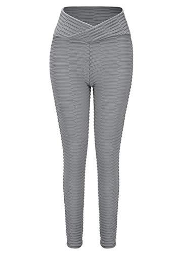 SIMOOOTHY Leggings y medias deportivas Pantalones De Yoga Para Mujer,Control De Barriga,Polainas Transpirables Gris S