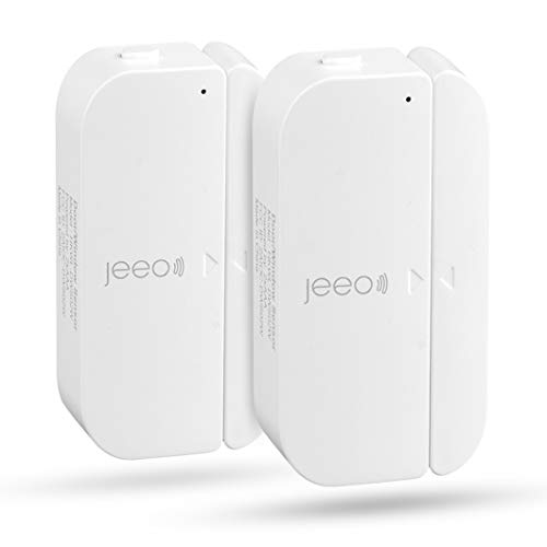 Door Sensors -JEEO WiFi Window Alarms for Home- Notification Reminder Sensors -2020 Updated Version Work with Alexa & Google Home Assistant, No Hub Needed,Batteries Powered & App Control (2 Pack)