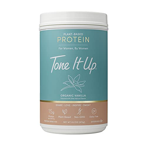Tone It Up Vanilla Protein Powder for Women - Organic Plant Based Pea Protein - Sugar Free, Gluten Free, Dairy Free and Kosher - 15g of Protein x 28 Servings - 1.54 lbs