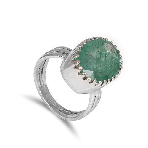Gemhub Anillo solitario de plata de ley 925 con esmeralda verde natural para hombres y mujeres