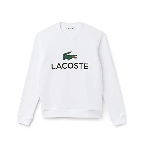 Lacoste SH0605 Herren Sweatshirt,Männer Pullover,sportlicher Sweater, Schriftzug,Logo,Freizeit,Regular Fit,Baumwolle,White(001), XXXX-Large (9)