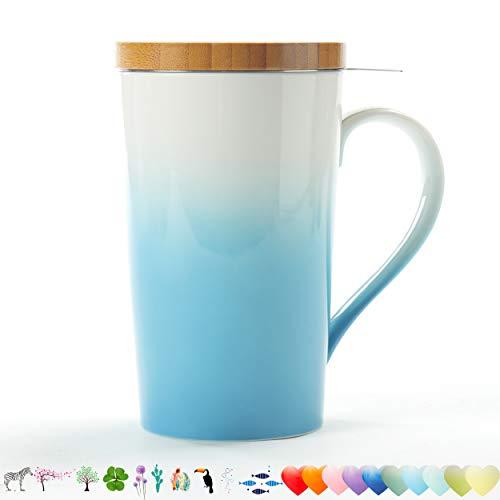 TEANAGOO EM066-C Teebecher mit Infuser und Deckel, 510ML, Türkis, Reisegeschirr mit Filterklee, Teetassen-Steeper-Maker, Brauenfilter für Loose Leaf-Tee, Diffusorbecher für Tee-Liebhaber-Geschenkset