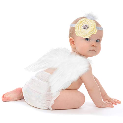 Lukovee Newborn Photography Props, White Feather Angel Wing | Flower Headband | Infant Girl Boy Cute Photo Picture Prop Outfits | Festival Photoshoot Costume Lovely Birthday Gift