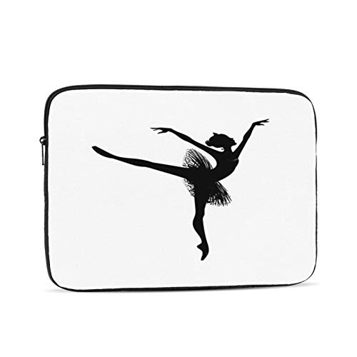 Laptop Sleeve Bag Dancer Ballet Drawing Ballerina On White Ketchvector Clip Girl Tutu Young Airy Black Design Portable Zipper Tablet Cover Bag Notebook Computer Protective Bag,Black