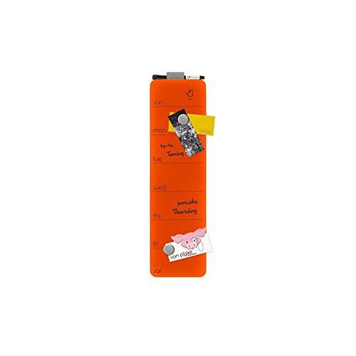 Tableau Verre Magnétique Mémo à effacement sec magnétiques semaine 14 x 51 cm, couleur:orange