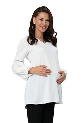M.M.C. Emily Umstands-Bluse mit Ballonärmeln und Spitze - Weiße Freizeitbluse für die Schwangerschaft Schwangerschaftsmode Umstandsmode - Langarm (Weiß, 38)