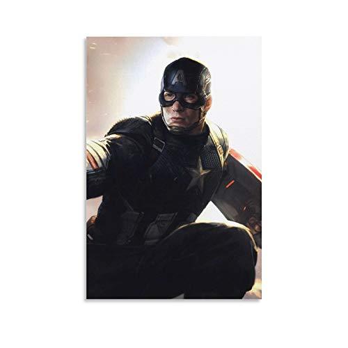NUOMANAN Póster de película de Capitán América de lujo de 50 x 75 cm, para decoración de lujo en sala de estar y comedor sin enmarcar.