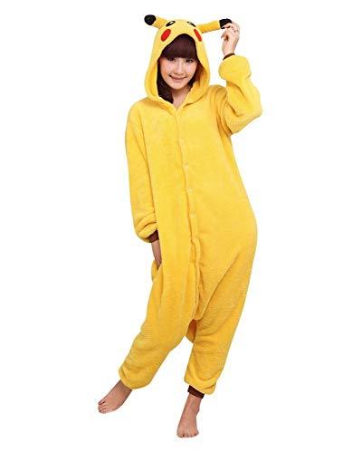 Kigurumi - Pijama de una pieza para disfraz de animal para carnaval, Halloween, fiestas, cosplay, de una pieza, suave y cómodo Pikachu Large