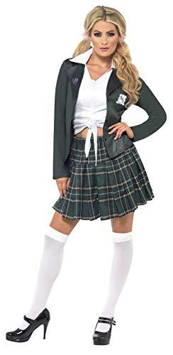 Braves Schulmädchen Kostüm mit Hemd Rock Blazer und Marabou Haarklemmen, Medium
