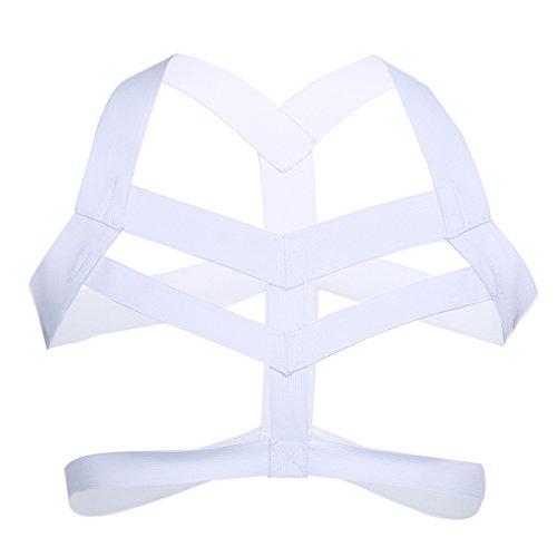 iEFiEL Männer Body Stretch Harness Brust Harness Nylon Geschirr Herren erotik Unterwäsche Dessous Clubwear Weiß Einheitsgröße