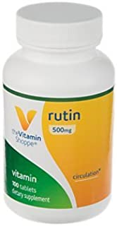 The Vitamin Shoppe Rutin 500MG, Supports Circulation, Supports Vascular Health, Aids in The Absorption of Vitamin C, Once ...